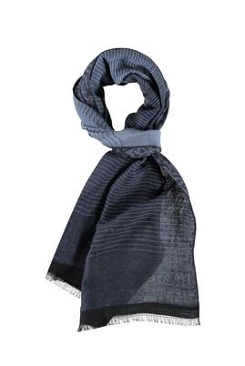 Erkek Giyim - Mavi STD Beden Yünlü Desenli Atkı
