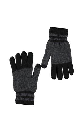 Erkek Giyim - Siyah STD Beden Desenli Eldiven