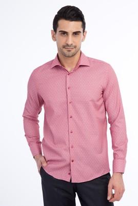 Erkek Giyim - Kırmızı XS Beden Uzun Kol Desenli Slim Fit Gömlek