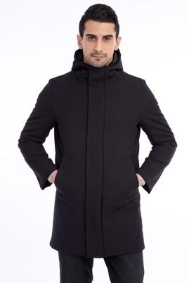 Erkek Giyim - Siyah 52 Beden Kapüşonlu Bonded Kaban