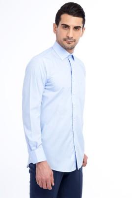 Erkek Giyim - Açık Mavi L Beden Uzun Kol Ekose Klasik Gömlek