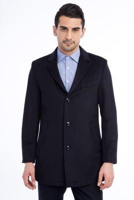 Erkek Giyim - Lacivert 46 Beden Slim Fit Kaşe Yün Kaban