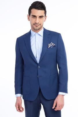 Erkek Giyim - MAVİ 48 Beden Kuşgözü Yünlü Ceket