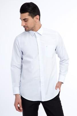 Erkek Giyim - Beyaz XL Beden Uzun Kol Desenli Klasik Gömlek