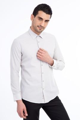 Erkek Giyim - Kahve M Beden Uzun Kol Desenli Slim Fit Gömlek