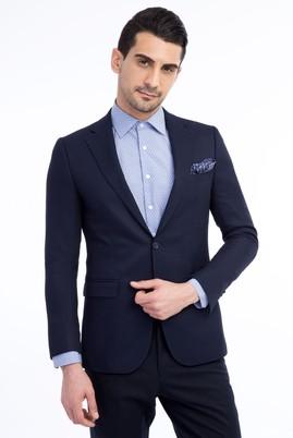 Erkek Giyim - Lacivert 46 Beden Desenli Blazer Ceket