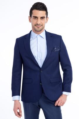Erkek Giyim - Lacivert 48 Beden Yünlü Desenli Ceket