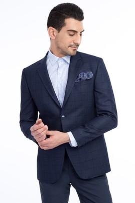 Erkek Giyim - KOYU MAVİ 54 Beden Slim Fit Kareli Ceket