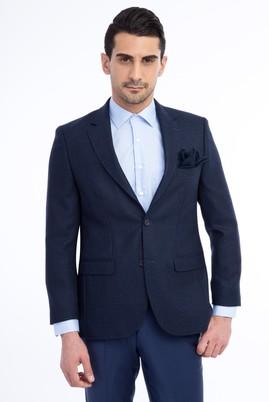 Erkek Giyim - Lacivert 54 Beden Yünlü Desenli Ceket