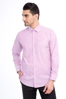 Erkek Giyim - Pembe L Beden Uzun Kol Çizgili Klasik Gömlek