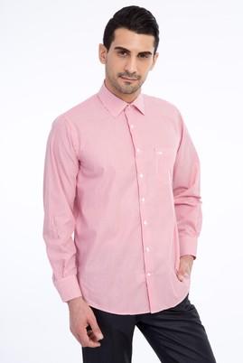 Erkek Giyim - Kırmızı XXL Beden Uzun Kol Çizgili Klasik Gömlek