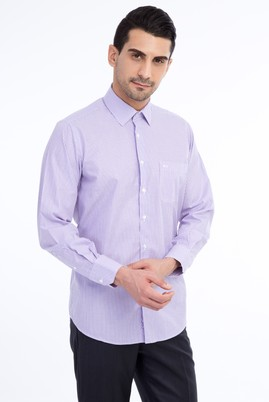 Erkek Giyim - Lila XXL Beden Uzun Kol Çizgili Klasik Gömlek
