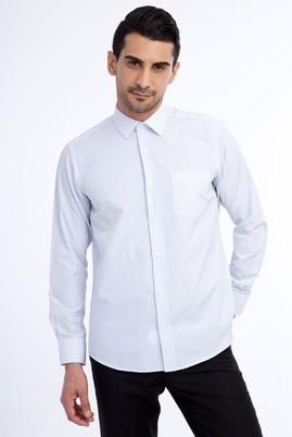 Erkek Giyim - Lacivert XXL Beden Uzun Kol Çizgili Klasik Gömlek