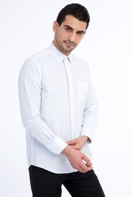 Erkek Giyim - Açık Mavi M Beden Uzun Kol Çizgili Klasik Gömlek