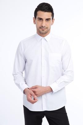 Erkek Giyim - Lila L Beden Uzun Kol Çizgili Klasik Gömlek