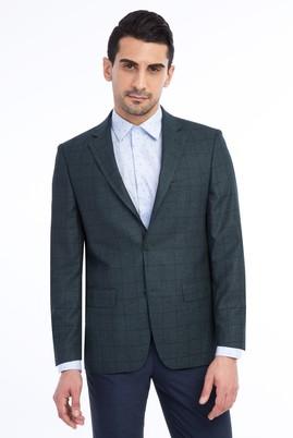 Erkek Giyim - KOYU YESİL 50 Beden Kareli Ceket