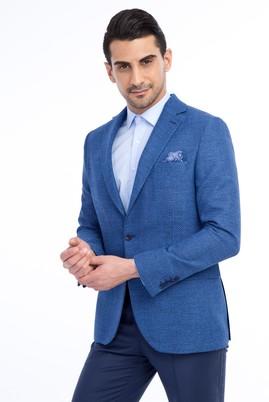 Erkek Giyim - MAVİ 46 Beden Slim Fit Desenli Ceket