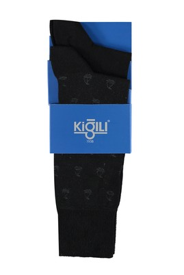 Erkek Giyim - Siyah 42 Beden 2'li Desenli Çorap