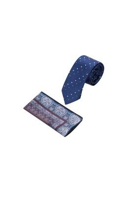 Erkek Giyim - Lacivert 65 Beden Kravat Mendil Set
