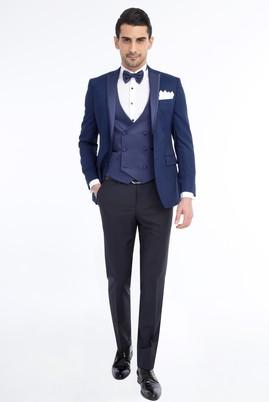 Erkek Giyim - Lacivert 48 Beden Slim Fit Desenli Smokin / Damatlık
