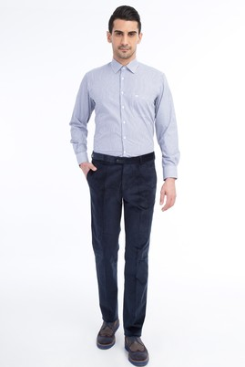 Erkek Giyim - KOYU MAVİ 48 Beden Kadife Pantolon
