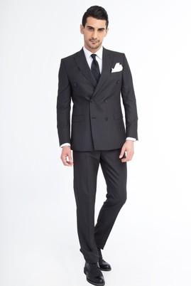 Erkek Giyim - Siyah 48 Beden Çizgili Takım Elbise