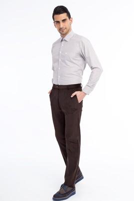 Erkek Giyim - KOYU KAHVE 46 Beden Kadife Pantolon