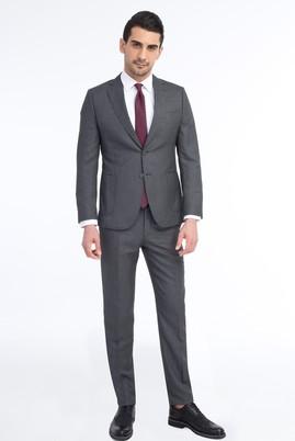Erkek Giyim - Füme Gri 48 Beden Slim Fit Yıkanabilir Takım Elbise