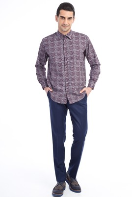 Erkek Giyim - Lacivert 52 Beden Slim Fit Flanel Pantolon