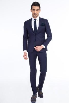 Erkek Giyim - KOYU MAVİ 48 Beden Slim Fit Takım Elbise