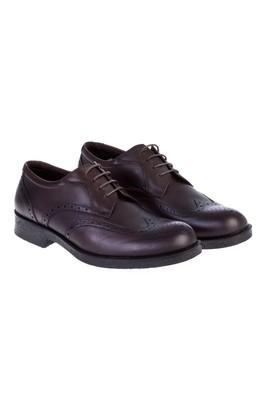 Erkek Giyim - Kahve 44 Beden Bağcıklı Deri Ayakkabı