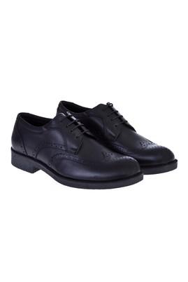 Erkek Giyim - Siyah 40 Beden Bağcıklı Deri Ayakkabı