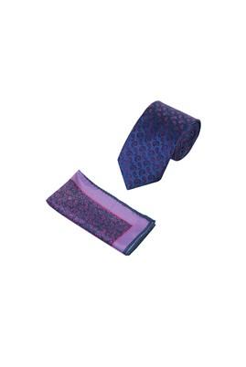 Erkek Giyim - Lacivert  Beden 2'Li Desenli Kravat Mendil Set