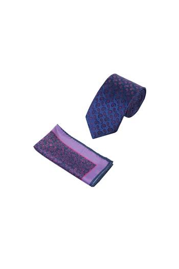Erkek Giyim - 2'Li Desenli Kravat Mendil Set