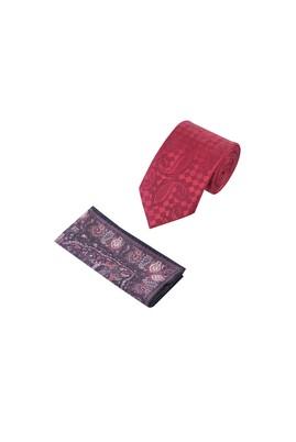 Erkek Giyim - Bordo  Beden 2'Li Desenli Kravat Mendil Set