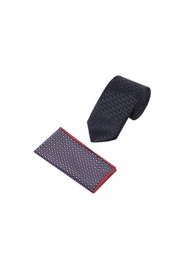 Erkek Giyim - Siyah 65 Beden Kravat Mendil Set