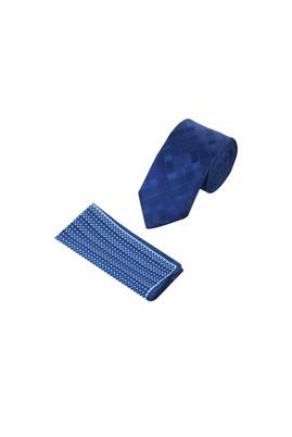 Erkek Giyim - KOYU MAVİ 65 Beden Kravat Mendil Set