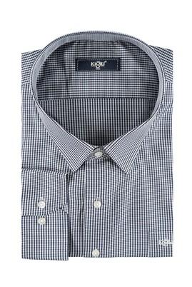 Erkek Giyim - Siyah 5X Beden King Size Uzun Kol Çizgili Gömlek