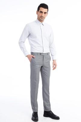 Erkek Giyim - Açık Gri 54 Beden Slim Fit Kuşgözü Klasik Pantolon