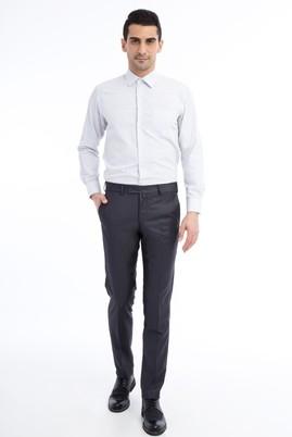 Erkek Giyim - Füme Gri 48 Beden Slim Fit Ekose Klasik Pantolon