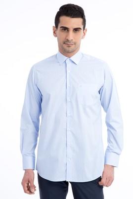 Erkek Giyim - Açık Mavi L Beden Uzun Kol Çizgili Klasik Gömlek