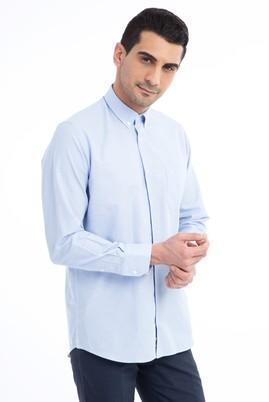 Erkek Giyim - Açık Mavi XXL Beden Uzun Kol Çizgili Spor Gömlek