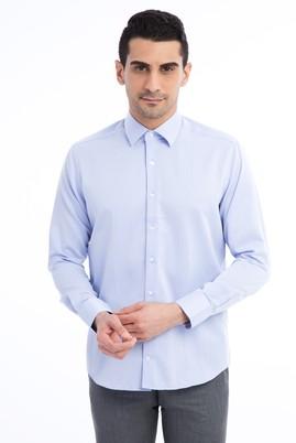 Erkek Giyim - Mavi XL Beden Uzun Kol Desenli Slim Fit Gömlek