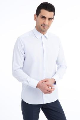 Erkek Giyim - Açık Mavi S Beden Uzun Kol Desenli Slim Fit Gömlek