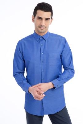 Erkek Giyim - Lacivert XXL Beden Uzun Kol Desenli Klasik Gömlek
