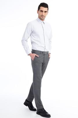 Erkek Giyim - ORTA FÜME 58 Beden Slim Fit Yünlü Kuşgözü Pantolon