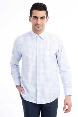 Erkek Giyim - Mavi L Beden Uzun Kol Regular Fit Ekose Gömlek