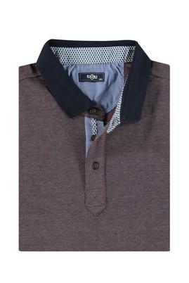 Erkek Giyim - Bordo 5X Beden King Size Polo Yaka Sweatshirt