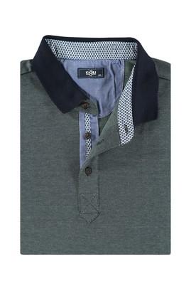 Erkek Giyim - KOYU YESİL 4X Beden King Size Polo Yaka Sweatshirt