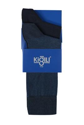 Erkek Giyim - Lacivert 42 Beden 2'lİ Desenli Çorap